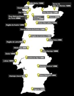 Dotação do SI2E por região - NML Turismo