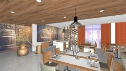 NML Projetos privados: West Inn Lourinhã Hotel & Villas - 3D Restaurante